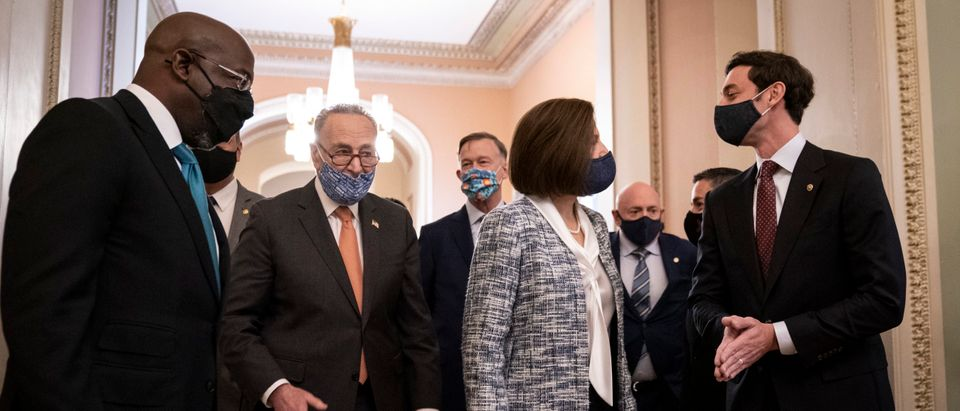Senate Majority Leader Chuck Schumer Meets With Incoming Senators Ossoff, Padilla, And Warnock