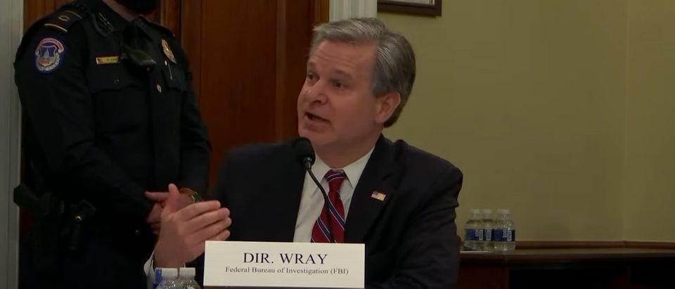 FBI Director Chris Wray testifies before House Intelligence Committee, April 15, 2021. (YouTube screen capture/House Intelligence Committee)