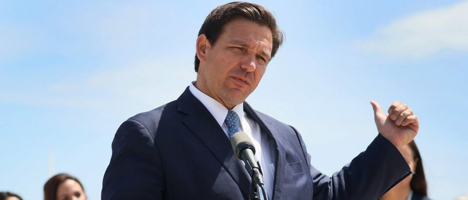 MIAMI, FLORIDA - APRIL 08: Florida Gov. Ron DeSantis speaks to the media about the cruise industry during a press conference at PortMiami on April 08, 2021 in Miami, Florida. The Governor announced that the state is suing the federal government to allow cruises to resume in Florida. (Photo by Joe Raedle/Getty Images)