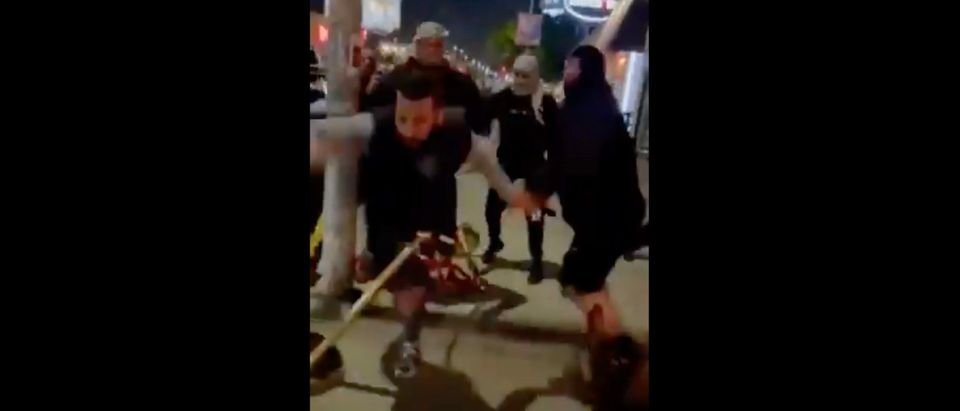 A group of pro-Palestinian individuals allegedly attacked Jewish people outside a Los Angeles restaurant [Twitter:Screenshot:Sia Kordestani]