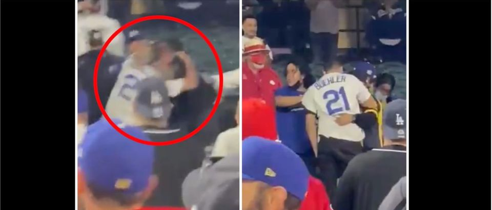 Angels/Dodgers Figth (Credit: Screenshot/Twitter Video https://twitter.com/haloweezy/status/1390882729751834624)