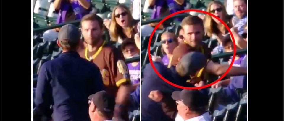 Rockies, Padres Fight (Credit: Screenshot/Twitter Video https://twitter.com/Bradleyemery2/status/1392888517634691077)