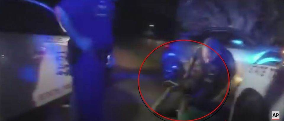 Bodycam footage shows Ronald Greene facedown getting dragged by the shackles during a 2019 police encounter that led to his death [Youtube:Screenshot:Associated Press]