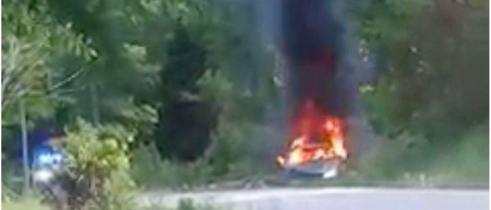 Car catches fire in South Carolina after woman hoarding gas crashes[Facebook:Screenshot:Sarah Wilson]