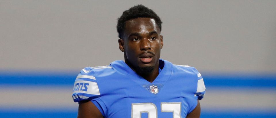 Sep 13, 2020; Detroit, Michigan, USA; Detroit Lions wide receiver Quintez Cephus (87) stands on the field before the game against the Chicago Bears at Ford Field. Mandatory Credit: Raj Mehta-USA TODAY Sports via Reuters