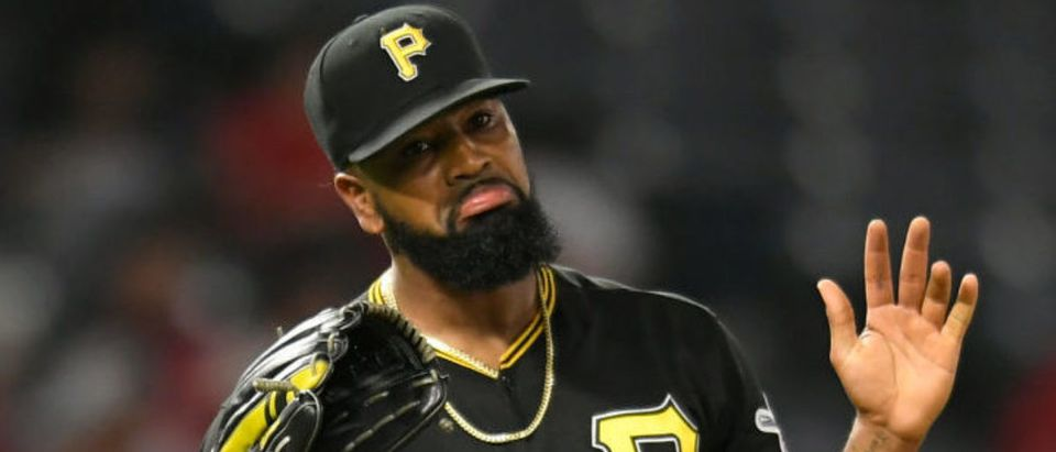 ANAHEIM, CA - AUGUST 13: Felipe Vazquez #73 of the Pittsburgh Pirates reacts after the final out in a 10-7 win over the Los Angeles Angels of Anaheim at Angel Stadium of Anaheim on August 13, 2019 in Anaheim, California. (Photo by John McCoy/Getty Images)