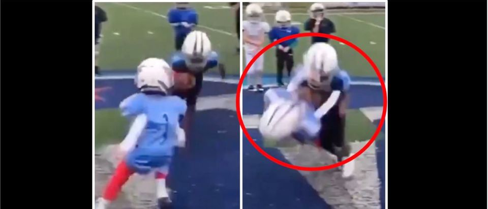 Football Hit (Credit: Screenshot/Twitter Video https://twitter.com/Zeekncashe/status/1392179006263513089)