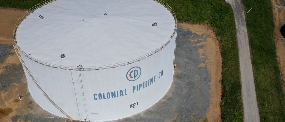 Fuel holding tanks are seen at Colonial Pipeline's Dorsey Junction Station on May 13, 2021 in Washington, DC. Photo by Drew Angerer. Getty.