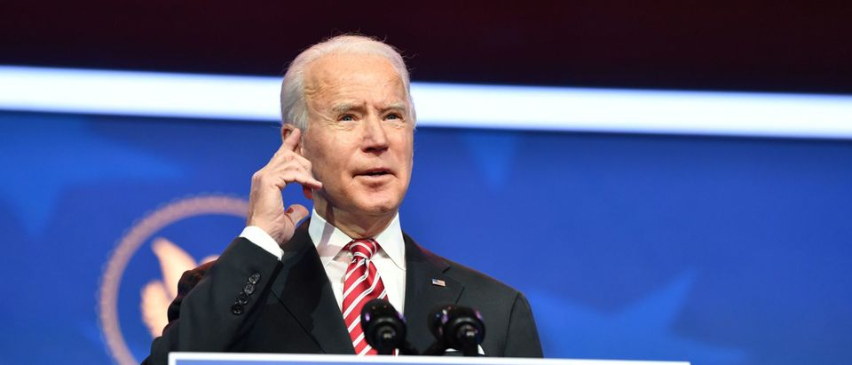 President Joe Biden speaks while introducing his nomination for Education Secretary, Dr. Miguel Cardona, at The Queen in Wilmington, Delaware, on December 23, 2020. (NICHOLAS KAMM/AFP via Getty Images)
