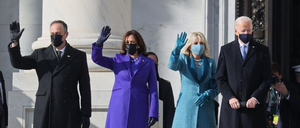 (EDITOR'S NOTE: Alternate crop) (L-R) Doug Emhoff, U.S. Vice President-elect Kamala Harris, Jill Biden and President-elect Joe Biden wave as they arrive on the East Front of the U.S. Capitol for the inauguration on January 20, 2021 in Washington, DC. (Joe Raedle/Getty Images)