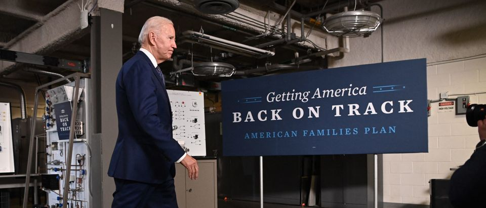 US President Joe Biden departs after speaking on the American Jobs Plan, following a tour of Tidewater Community College in Norfolk, Virginia on May 3, 2021. (Photo by Mandel Ngan/AFP via Getty Images)