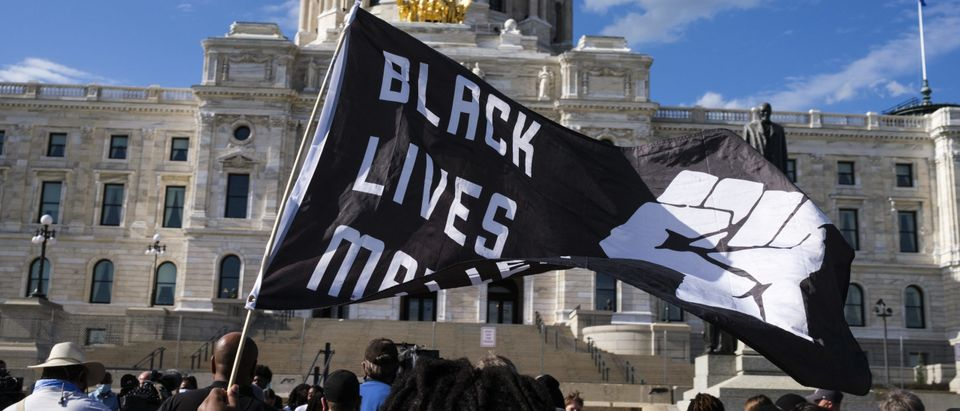 BLM Flags Fly At Protest
