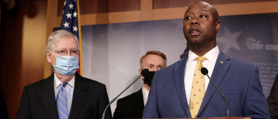 Sen. Tim Scott and fellow Republican lawmakers at a news conference to unveil the GOP's legislation to address racial disparities in law enforcement