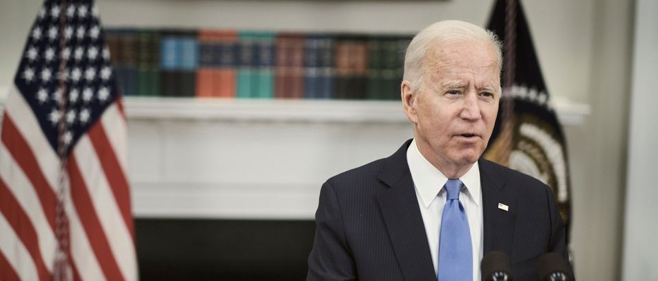 U.S. President Joe Biden delivers remarks on the Colonial Pipeline incident in the Roosevelt Room of the White House May 13, 2021 in Washington, DC. (T.J. Kirkpatrick-Pool/Getty Images)
