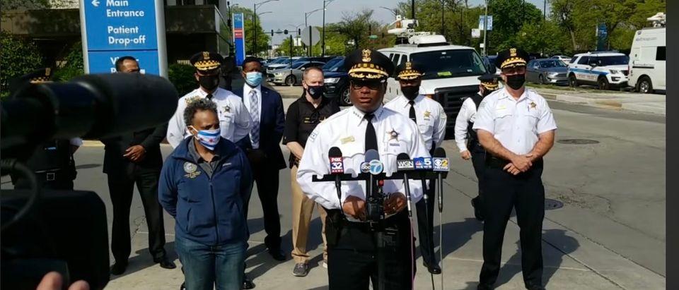 Chicago Mayor Lori Lightfoot and Police Supt. David Brown at a press conference following 48 shootings.