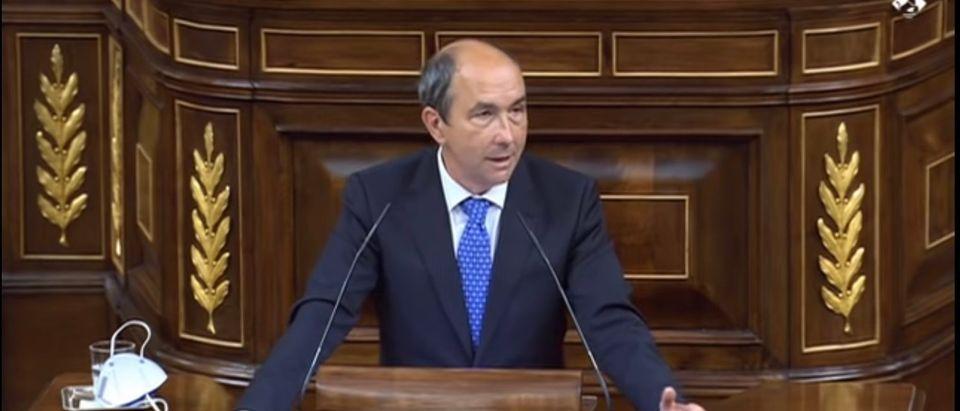 Francisco Jose Contreras, deputy of Spain's Vox Party, gives a speech. {Screenshot-YouTube: Francisco Jose Contreras]