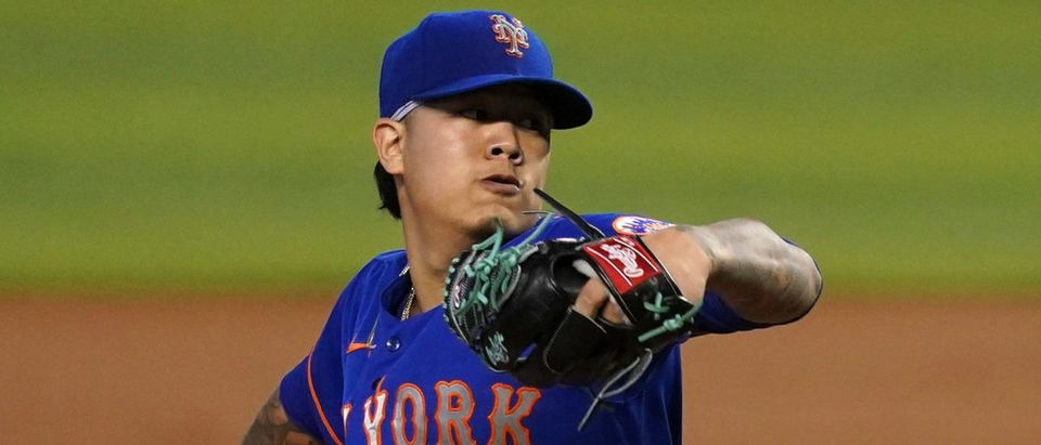 May 23, 2021; Miami, Florida, USA; New York Mets starting pitcher Jordan Yamamoto (45) delivers a pitch in the 1st inning against the Miami Marlins at loanDepot park. Mandatory Credit: Jasen Vinlove-USA TODAY Sports via Reuters