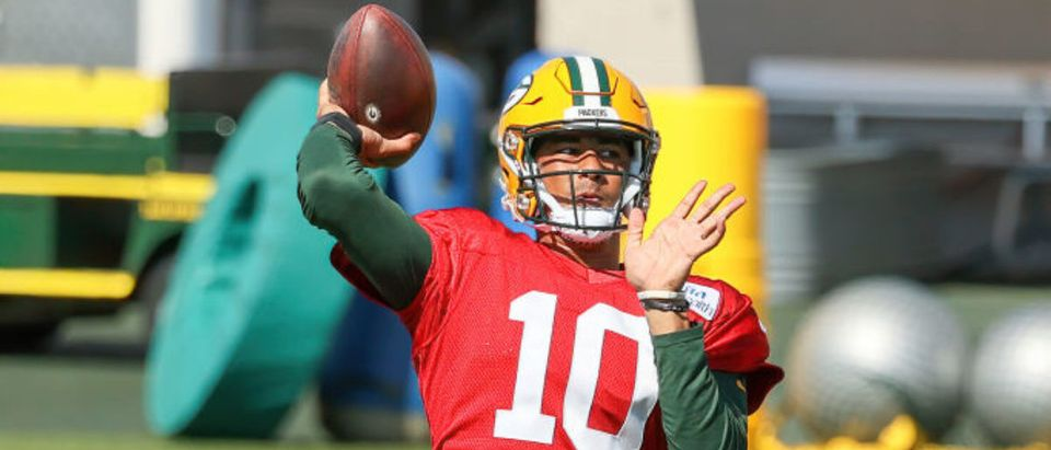ASHWAUBENON, WISCONSIN - AUGUST 19: Jordan Love #10 of the Green Bay Packers throws a pass during Green Bay Packers Training Camp at Ray Nitschke Field on August 19, 2020 in Ashwaubenon, Wisconsin. (Photo by Dylan Buell/Getty Images)