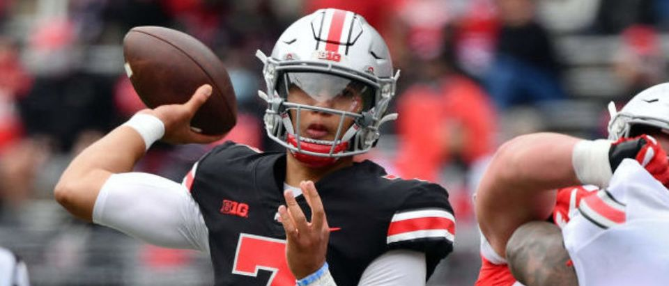 COLUMBUS, OH - APRIL 17: Quarterback C.J. Stroud #7 of the Ohio State Buckeyes passes during the Spring Game at Ohio Stadium on April 17, 2021 in Columbus, Ohio. (Photo by Jamie Sabau/Getty Images)