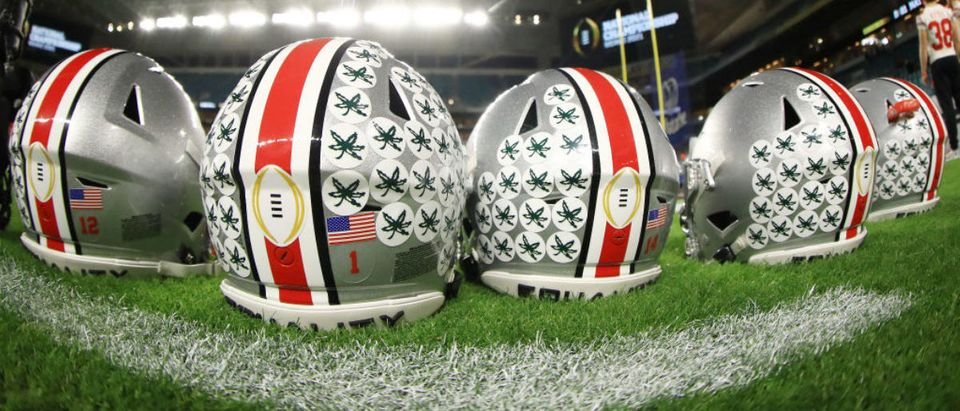 MIAMI GARDENS, FLORIDA - JANUARY 11: Ohio State Buckeyes helmets are seen prior to the College Football Playoff National Championship game between the Ohio State Buckeyes and the Alabama Crimson Tide at Hard Rock Stadium on January 11, 2021 in Miami Gardens, Florida. (Photo by Mike Ehrmann/Getty Images)