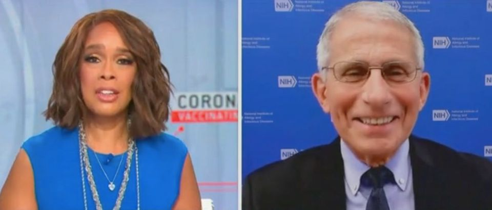 """Gayle King speaks with Dr. Anthony Fauci on """"This Morning."""" Screenshot/CBS"""