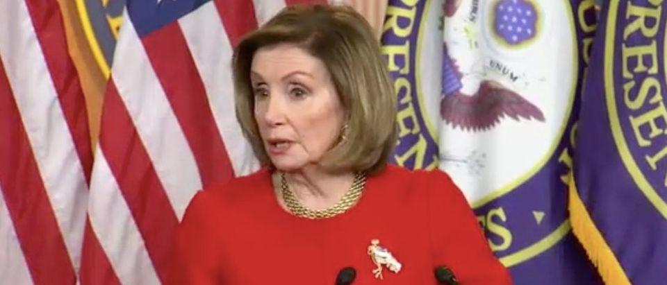 House Speaker Nancy Pelosi gives weekly address. Screenshot/C-Span