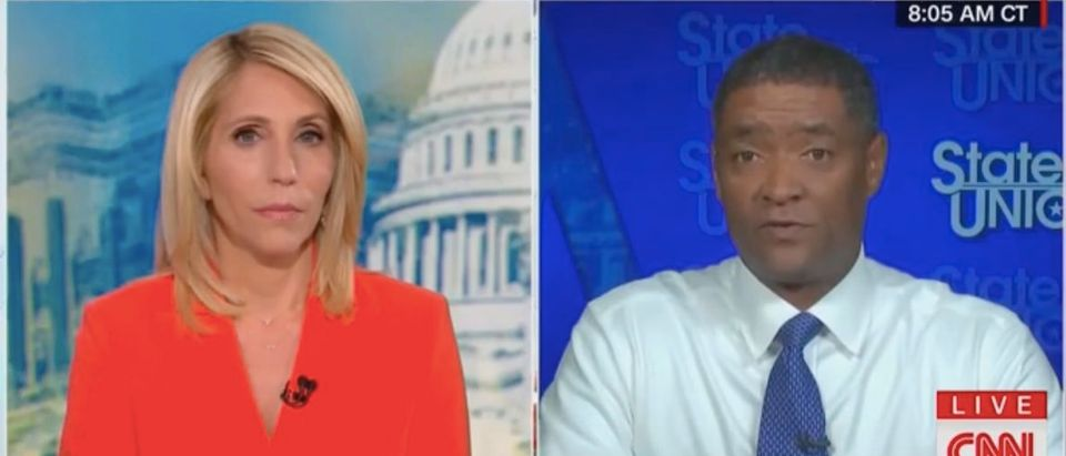 "Dana Bash and Cedric Richmond appear on ""State of the Union."" Screenshot/CNN"