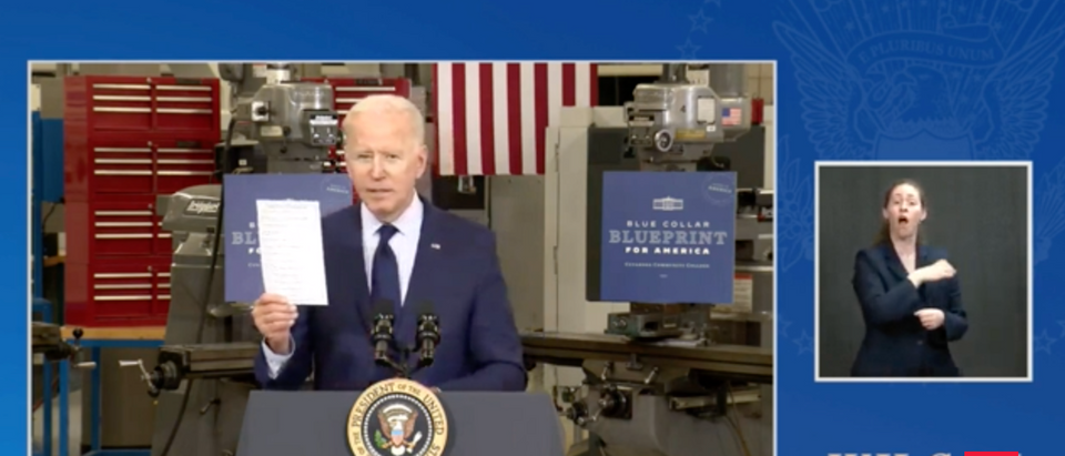 Joe Biden brought out a list of Republicans who he said are touting the ARP after not voting for it. (Screenshot The White House)