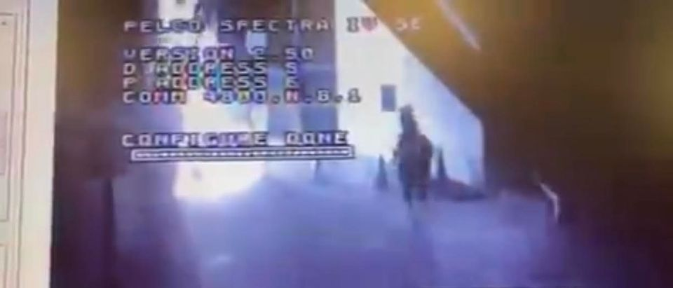 Security footage of Rosin firebombing an LAPD police station