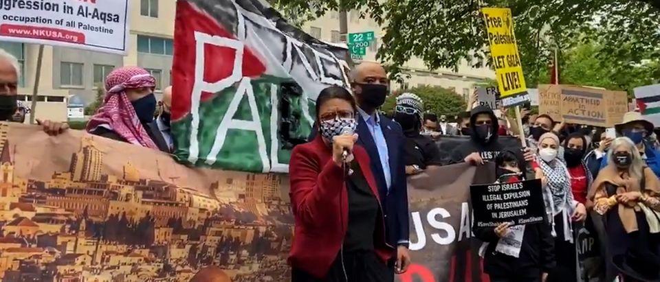 Congresswoman Rashida Tlaib speaks to the protesters
