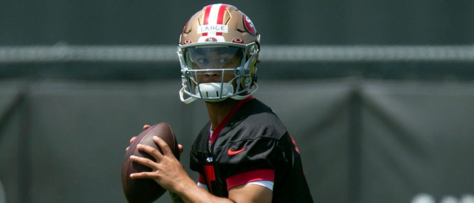 May 14, 2021; Santa Clara, California, USA; San Francisco 49ers quarterback Trey Lance (5) works on his passing during the first day of a rookie minicamp at Levi's Stadium. Mandatory Credit: D. Ross Cameron-USA TODAY Sports via Reuters