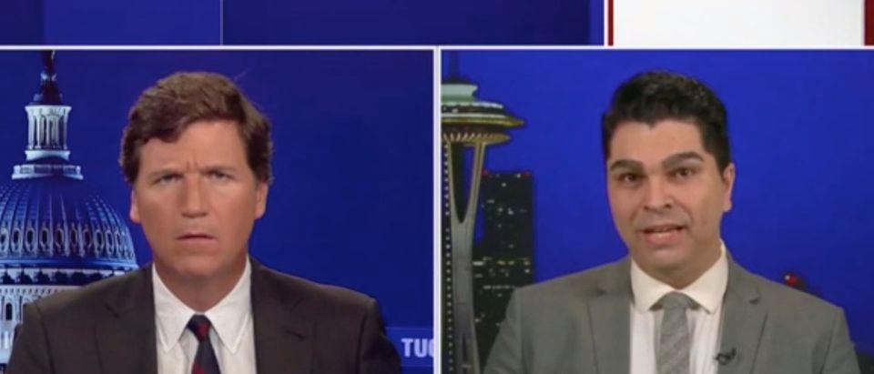Broadcaster Jason Rantz (R) and Fox News host Tucker Carlson