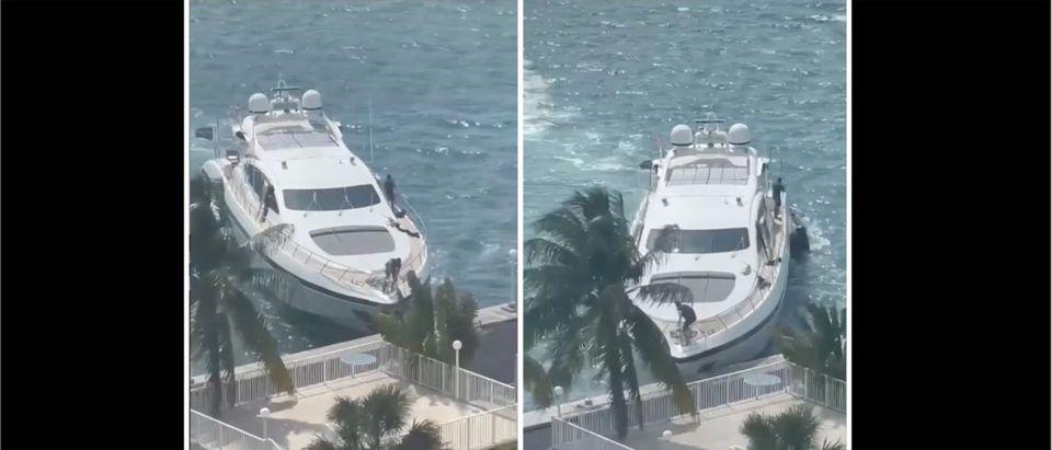 Yacht Crash Video (Credit: Screenshot/Instagram Video https://www.instagram.com/p/CO4DLY0nUA9/)