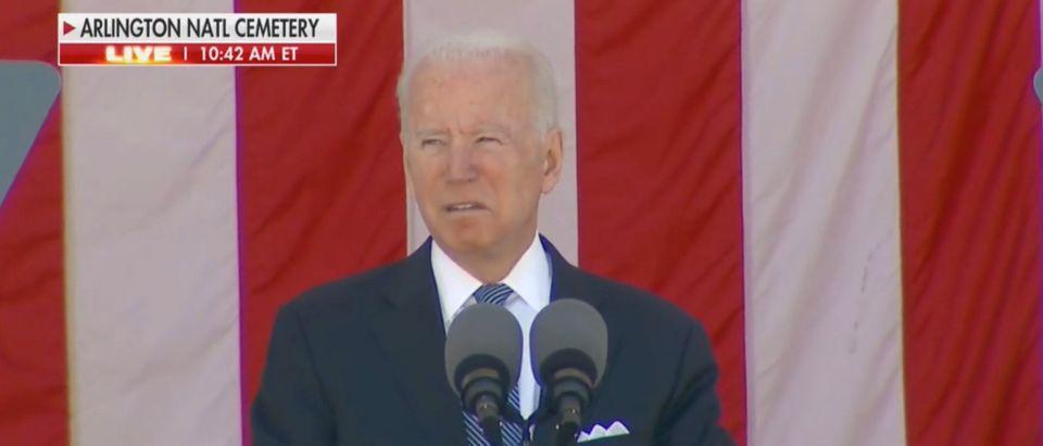Joe Biden spoke on Memorial Day, honoring the fallen heroes and pushing democracy. (Screenshot Fox News)