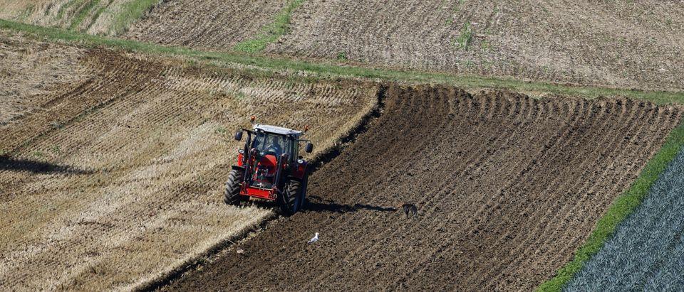 A farmer drives a tractor as he ploughs a field near the village of Villigen