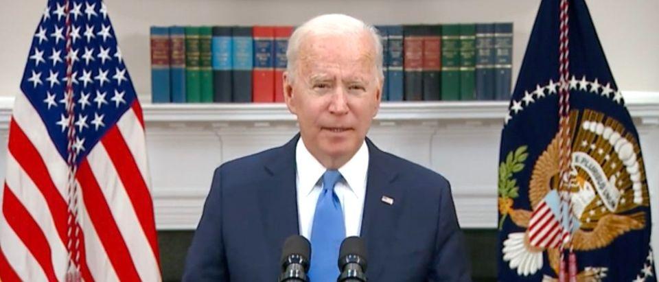 Joe Biden gave updates on the Colonial Pipeline attack. (Screenshot YouTube)