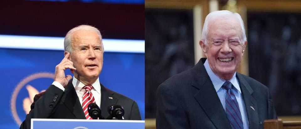 President Joe Biden and Former President Jimmy Carter. Side by Side: Left: (Photo by Nicholas Kamm / AFP) (Photo by NICHOLAS KAMM/AFP via Getty Images) Right: (Photo by Eddie Mullholland-WPA Pool/Getty Images)
