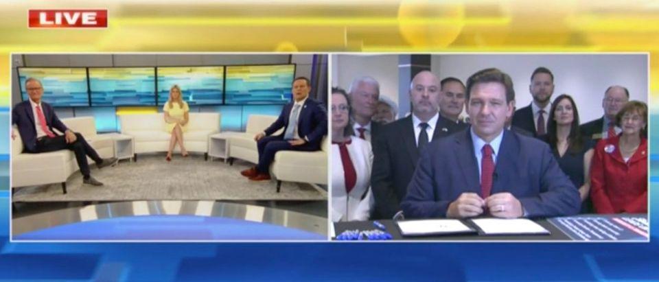 Ron DeSantis signed an elections bill for Florida on Fox News. (Screenshot Fox News)