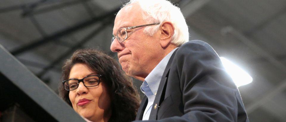 Democratic 2020 U.S. presidential candidate Senator Bernie Sanders and US Rep Rashida Tlaib address the audience during a Sanders campaign rally in Detroit,