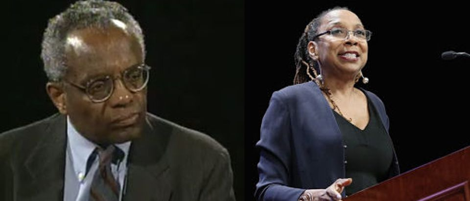 """LEFT: Derrick Bell [CUNY TV/YouTube/Screenshot] RIGHT: NEW YORK, NY - MAY 10: Celebrating Women Award Honoree and co-founder and director of the African American Policy Forum, Kimberle Crenshaw speaks onstage during the New York Women's Foundation's 2018 """"Celebrating Women"""" breakfast on May 10, 2018 in New York City. (Photo by Monica Schipper/Getty Images for The New York Women's Foundation)"""