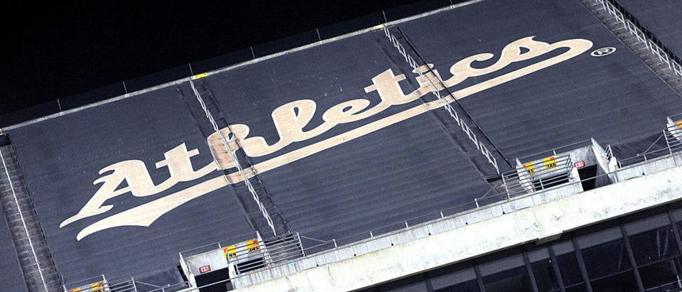 OAKLAND, CA - SEPTEMBER 05: A general view of the Athetics logo durring the game between the Oakland Athletics and the Houston Astros at O.co Coliseum on September 5, 2014 in Oakland, California. (Photo by Noah Graham/Getty Images)