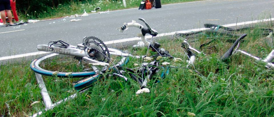 Broken bicycles and debris, not from the Arizona race. Photo by Karsten Schoss. Getty.