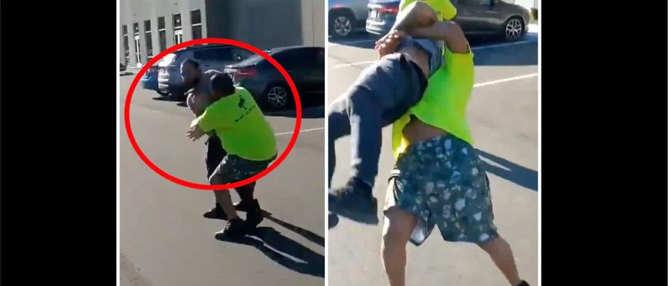 Coworker Fight Video (Credit: Screenshot/Twitter Video https://twitter.com/nopausetv/status/1405587474760585219))