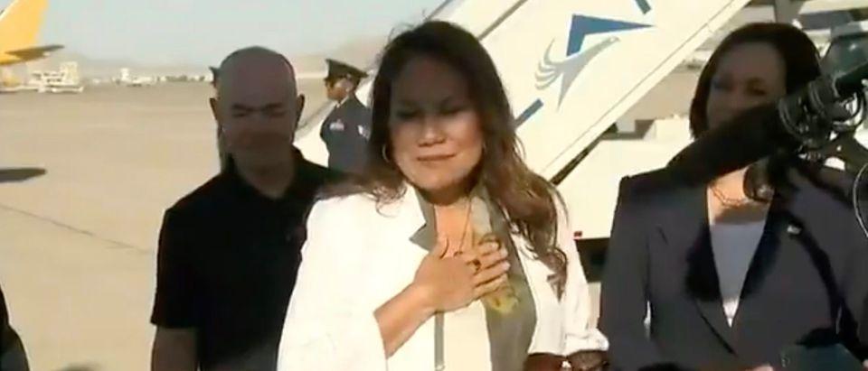 D-TX Rep. Veronica Escobar welcomes Vice President Kamala Harris to the border [Twitter:Screenshot:Washington Examiner]
