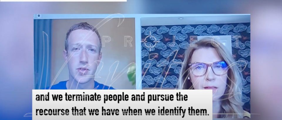 Facebook CEO Mark Zuckerberg appears to talk to employees during a meeting [Youtube:Screenshot:Project Veritas]