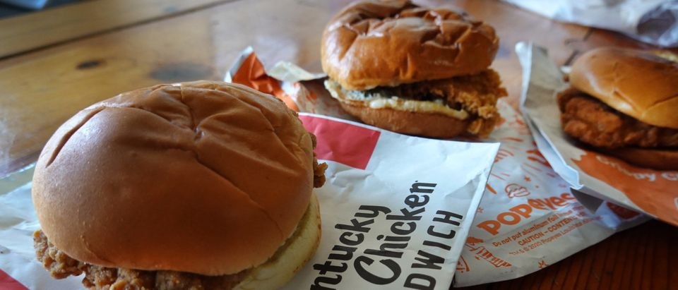 Fast-food chicken sandwiches from McDonald's, Popeyes Louisiana Kitchen and KFC on May 06, 2021 in Chicago, Illinois. (Photo Illustration by Scott Olson/Getty Images)