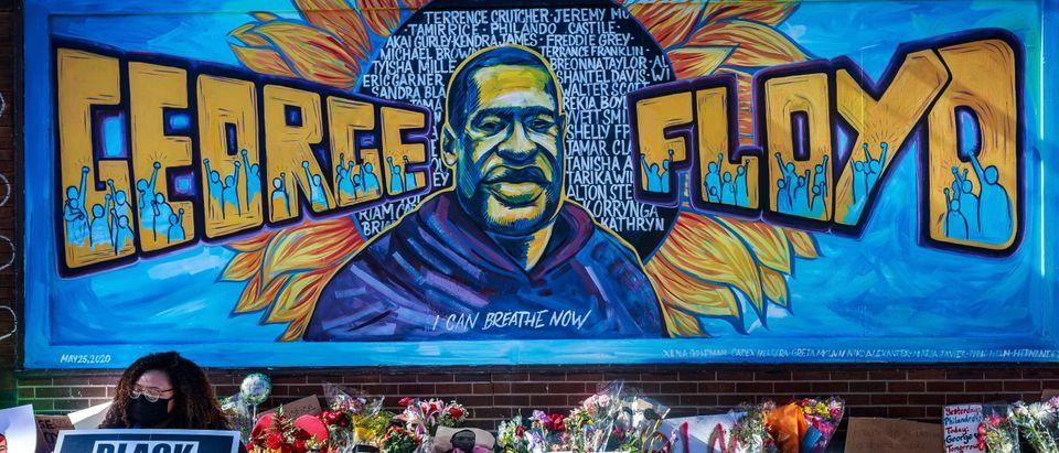 George Floyd memorial in Minneapolis. Photo by Kerem Yucel. Getty.