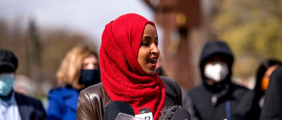 Rep. Ilhan Omar Holds Press Conference And Rally At Site Of Daunte Wright Shooting