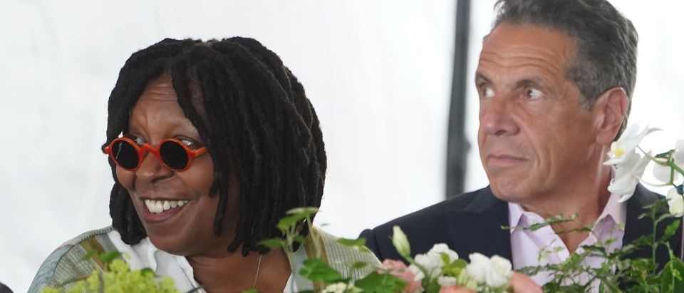 New York Gov. Andrew Cuomo and Whoopi Goldberg the opening ceremony for the Tribeca Film Festival on June 9, 2021 in New York City. Actor Robert De Niro co-founded the festival, which is now in its 20th year. (Photo by Carlo Allegri-Pool/Getty Images)