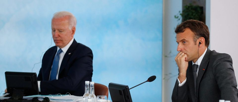 U.S. President Joe Biden and France's President Emmanuel Macron attend a plenary session during G7 summit in Carbis Bay on June 13, 2021 in Cornwall, United Kingdom. (Phil Noble - WPA Pool/Getty Images)